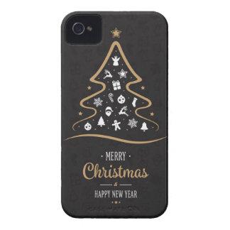 Christmas Elegant Premium Black Gold iPhone 4 Case-Mate Cases