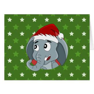 Christmas elephant cartoon big greeting card