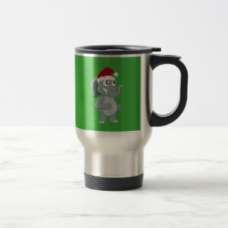 Christmas elephant cartoon travel mug