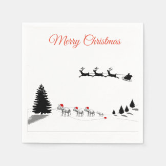 Christmas elephant in snowy scene cocktail napkins disposable napkins