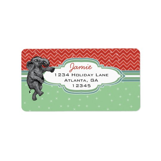 Christmas Elephant Zig Zag Pattern Return Address Label