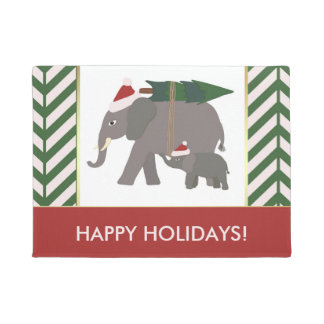 Christmas Elephants with Hats, Tree, and Chevron Doormat