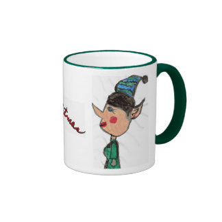 Christmas Elf and Merry Christmas Ringer Coffee Mug