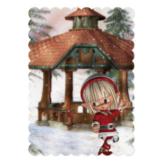Christmas Elf at North Pole 5x7 Paper Invitation Card