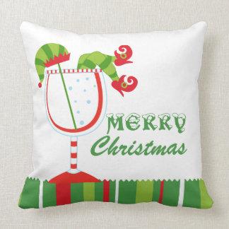 Christmas Elf Cocktail Merry Christmas Throw Cushion