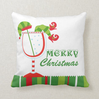 Christmas Elf Cocktail Merry Christmas Cushion