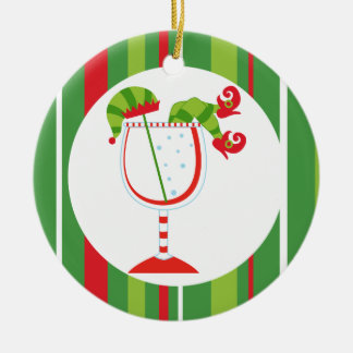 Christmas Elf Cocktail Merry Christmas Double-Sided Ceramic Round Christmas Ornament
