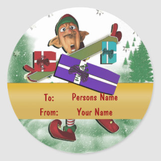 Christmas elf gift tag cute round sticker