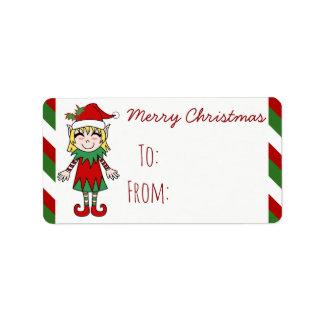 Christmas Elf Girl Merry Christmas Gift Label