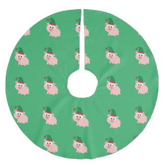 Christmas Elf Pig pattern Brushed Polyester Tree Skirt