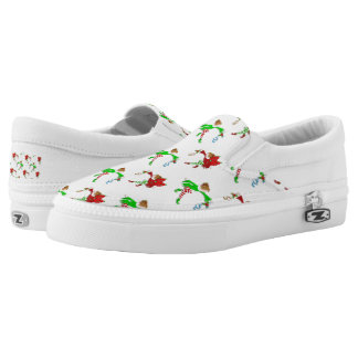 Christmas elf shoe pattern slip on shoes