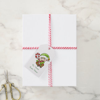 Christmas Elf with Candy Cane Gift Tags