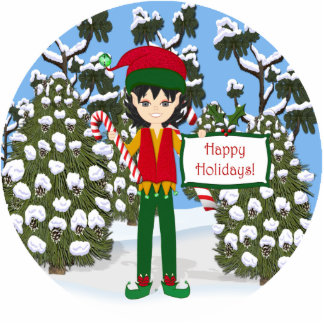Christmas Elf with Candy Canes Photo Sculpture