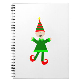 Christmas Elf with Green and Red Striped Star Hat Notebook