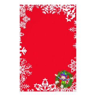 Christmas elf wreath Holiday stationery