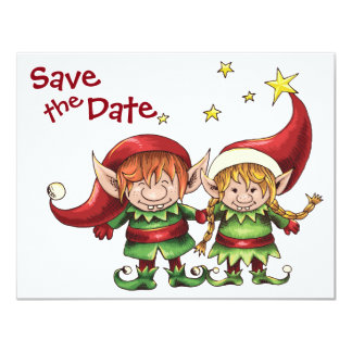 Christmas Elves Save the Date Wedding Announcement