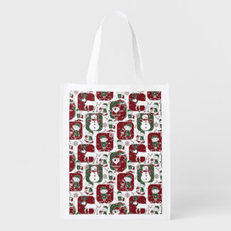 Christmas Elves & Snowmen Reusable Grocery Bag