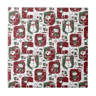Christmas Elves & Snowmen Small Square Tile