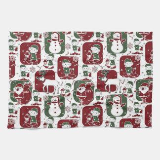 Christmas Elves & Snowmen Tea Towel