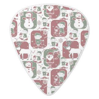 Christmas Elves & Snowmen White Delrin Guitar Pick