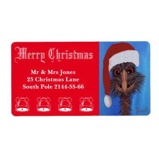 Christmas Emu Address Labels
