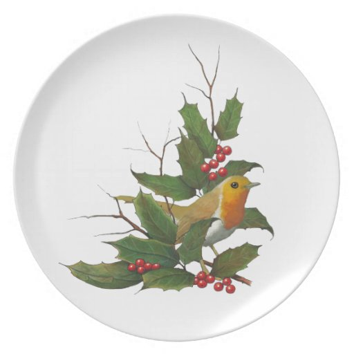 Christmas, English Robin, Holly, Berries: Art Dinner Plate