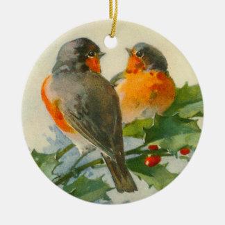 Christmas European robins & Holly Christmas Ornaments