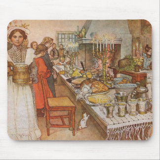 Christmas Eve by Carl Larsson, Vintage Holidays Mouse Pad
