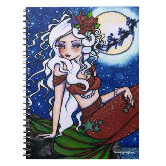 Christmas Eve Mermaid Fantasy Art by Hannah Lynn Notebook