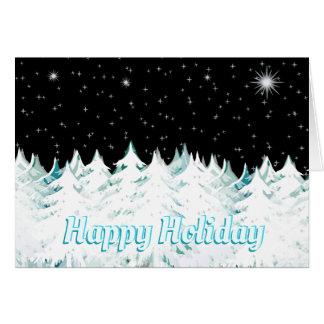 Christmas Eve Night Stars Snow Laden Trees Card
