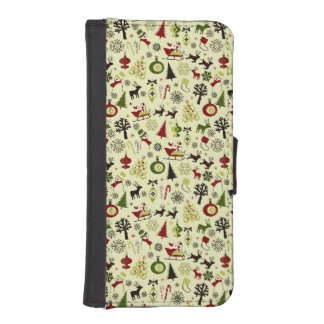 Christmas Eve Pattern iPhone SE/5/5s Wallet Case