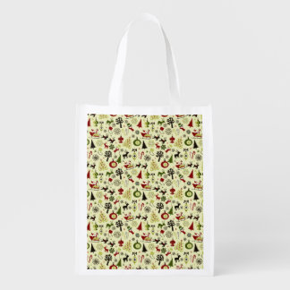 Christmas Eve Pattern Reusable Grocery Bag