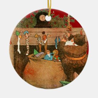 Christmas Eve Santa Claus Fireplace Ceramic Ornament