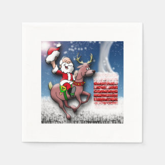 Christmas Eve Santa Reindeer Snowy Rooftop Chimney Disposable Napkins