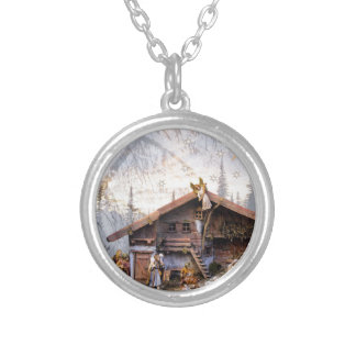 Christmas eve story decoration house silver plated necklace