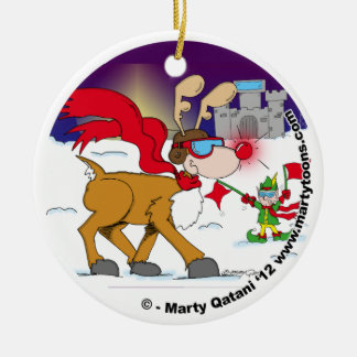 Christmas Eve Take Off Round Ornament