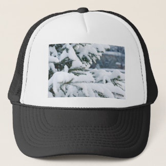 Christmas eve tree snowing trucker hat
