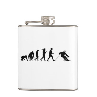 Christmas evolution skier ski skiing hip flask
