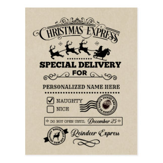 Christmas Express Special Delivery NAUGHTY List Postcard