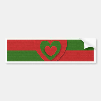 christmas fabric hearts love red bumper sticker