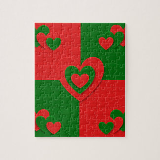 christmas fabric hearts love red puzzle