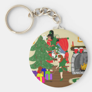 Christmas Fairies Trimming the Tree Keychain