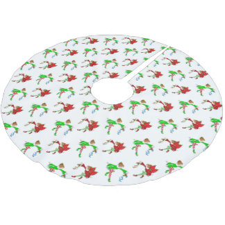 Christmas Fairies with Mistletoe Pattern Brushed Polyester Tree Skirt