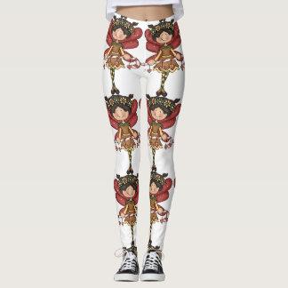 Christmas fairy red white brown leggings
