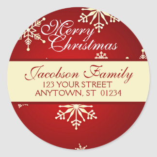 Christmas Family Address Round Sticker