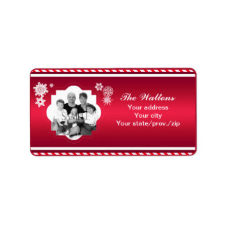 Christmas Family Photo Red Stripe Address Label