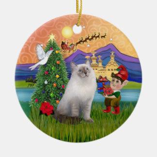 Christmas Fantasy - Ragdoll cat (blue seal point) Ceramic Ornament
