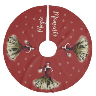 Christmas Fashion Illustration with parcel Brushed Polyester Tree Skirt