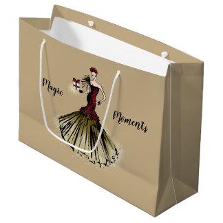 Christmas Fashion Illustration with parcel Large Gift Bag
