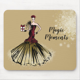 Christmas Fashion Illustration with parcel Mouse Pad